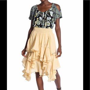 NWT Free People Cream Handkerchief Ruffle Skirt